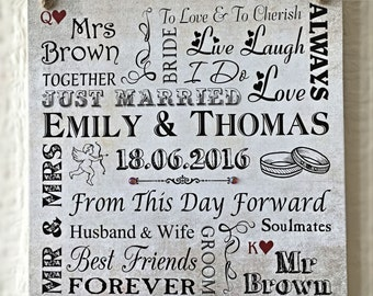 Perfect Wedding Gift Q K Heart Personalised Plaque Wooden Card W252