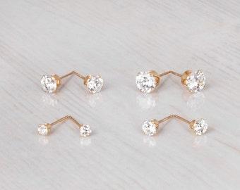 Gold Diamond Earrings, CZ Stud Earrings, Cubic Zirconia Studs, Gold Stud Earrings, Delicate Gold Earrings, Bridesmaid Earrings, Bridal Studs