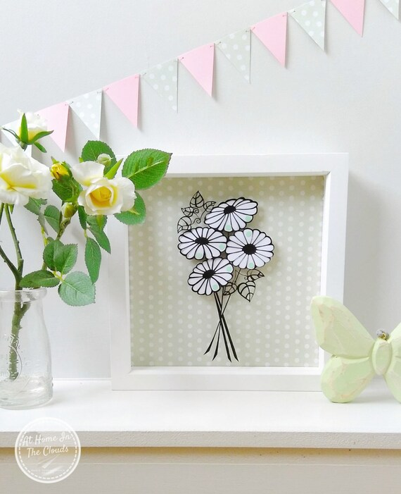 Paper Cutting Template, Personal and Commercial Use, Small Flower Bouquet, Printable PDF, 2 Sizes, DIY, Cut Your Own