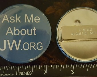 """Qty (2)    2"""" Magnetic Back JW.ORG Button """"Ask Me About JW.org"""""""