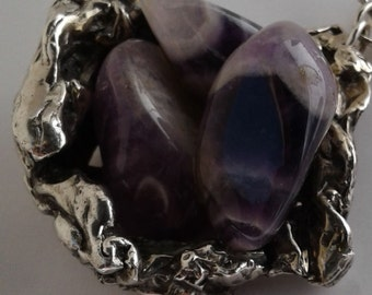 Chunky Amethyst and Sterling Silver Nest necklace (160005)