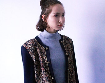 Vintage Gypsy-Pattern Jacket with Navy Knit Sleeves