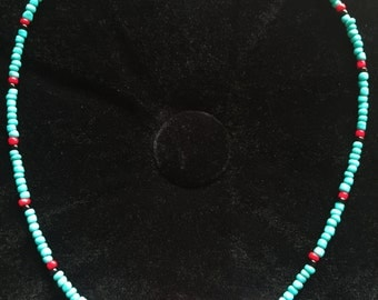 Necklace - Native American/Tribal inspired Turquoise and Red Glass Beaded
