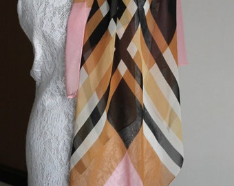 ECHO silk scarf in black, pink and cream - geometric, checked design