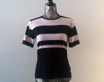 Vintage 90s Striped Top/Vintage Top/Black and Pink Top
