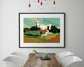 "Modern Wall Art, Mid Century Modern Art Print, Abstract Landscape, Old Corner Store Art, Vintage Art Print, Colorful Art,""Johnny's Store"""