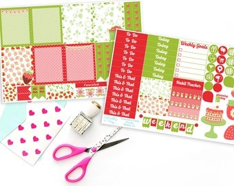 Vertical Strawberry Fields Forever Weekly Planner Sticker Kit for Erin Condren, Plum Planner, Inkwell Press or Filofax Planners