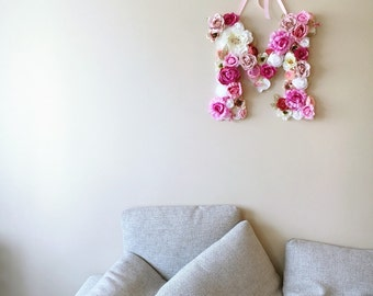 """Childrens room decor, Flower Letters, Floral wall decor, 45 cm/17.8"""", Personalized wall art, Summer Wedding decor, Personalized Nursery"""