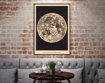 "Vintage Moon Poster - ""A Map of the Moon as Seen in an Ordinary Telescope"" - Vintage Moon Decor, Astronomy Decor"
