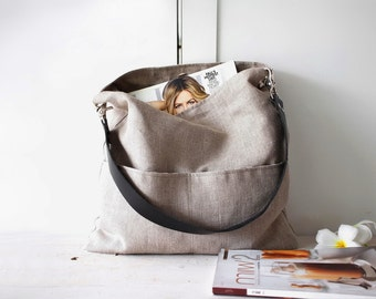 Shoulder bag, Linen tote bag with leather strap