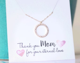 Mother of the bride gift, Mother of the groom gift, MOM Necklace, Mothers Necklace, Gold CZ Necklace, Cubic Zirconia Circle, Diamond Pave