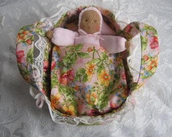 Waldorf Pocket Doll, Ready To Ship,Waldorf Ethnic Doll, Pocket Doll,Waldorf Bunting Baby,Waldorf Small Doll,Soft Doll Bed, Doll Cradle