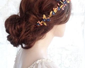 mustard and navy headband, bridal hair accessories, bridal hair piece, boho headband, flower girl circlet, pink and navy, rustic hair wreath