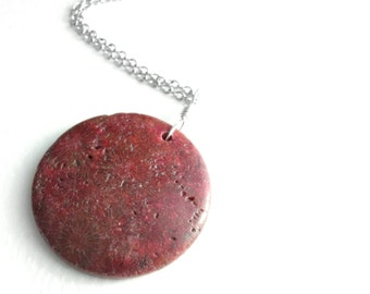 Coral Fossil Necklace, Red & Brown Fossilized Coral Pendant, Science Jewelry for Paleontologists