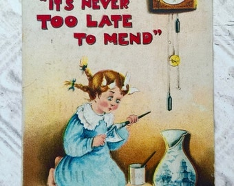 """Antique Postcard Proverbs """"It's Never Too Late To Mend""""  1912 One Cent Stamp Scrapbooking Mixed Media Supplies Old Correspondence Letter"""