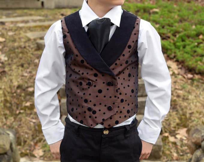 Boys Waistcoat - Ring Bearer Vest - Steampunk Wedding - Gothic Vest - Toddler Boy Vest - Little Boy Vest - Victorian - Ascot - sz 2T to 12