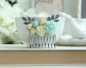 Mint Flower Hair Comb, Green Wedding Chrysanthemum Rose Pearl Leaf Flower Silver Plated Hair Comb, Bridal Hair Accessory Mint Rustic Wedding