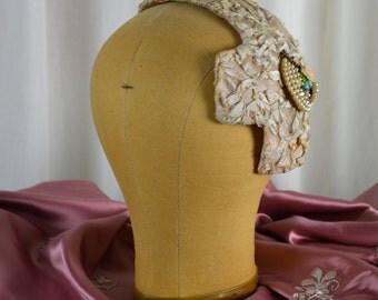Halloween Accessory, Flapper Hat, Soutache Fabric, 20s Flapper Hat, 50s Hat, Millinery Hat, Bridal Hat, Fancy Hat, 1920s Hat,