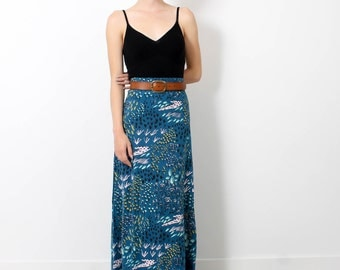 Maxi Skirt - Bay Blue 'Field of Dreams' - Hand Printed - Organic Cotton - Slow Fashion - Eco Fashion - Thief and Bandit®