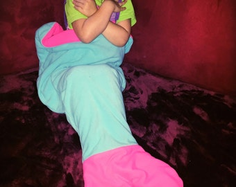 Mermaid Tail Blanket for Toddlers - The Only Reversible Mermaid Blanket - Kids Mermaid Fluke Blanket Ages 3-5 and Ready to Ship