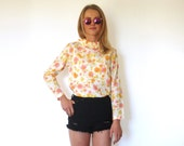 60s Ladylike Floral Ruffle Circus Collar Button Back Blouse xs s