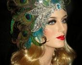 DIVINE PEACOCK DIVA- Avant Garde Gatsby Peacock Headband, 20s Flapper Headpiece, Art Deco Peacock Headband, Peacock & Silver Sequin Headband