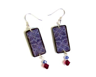 Summer Dangle Earrings Decoupaged Wood Fuchsia Crystal Rectangle Drop Earrings Purple Boho Jewelry Summer Jewelry Gifts for Her