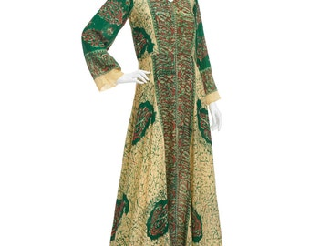Vintage 70's Rare Indian Green Psychedelic Print Flared Sleeves Empire Waist Full Skirt BATIK Pashmina Gown Gypsy Goddess Caftan Maxi DRESS