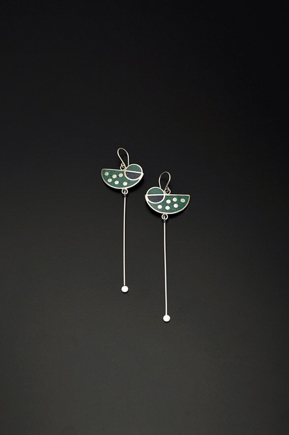 Sterling Silver Earrings, Geometric Earrings, Green and Blue Pendulum, Modern Design Contemporary Jewelry