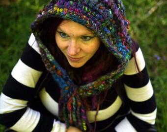 Crochet pointed hood hooded cowl snood 'Pixie Rainbow'- Multicolour bright handspun wool yarn - fiber art wearable - Handmade MADE to ORDER