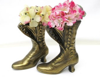 Antique Button Boots | Small Brass Boots | Brass Shoe Vases | Victorian Boot Planters | Pair Ladies Boot Vases