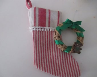 Small Christmas Stockings Small Christmas Wreaths Wooden Teddy Bears Red Linen Striped Stocking Christmas Trees YourFineHouse SHIPSWORLDWIDE