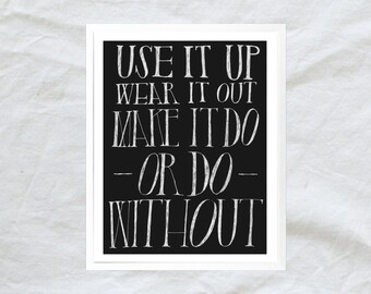 make do and mend - hand lettered poster print - 8x10 11x14