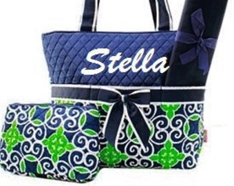 Personalized Diaper Bag Navy Green Geometric Quilted 3pc Set
