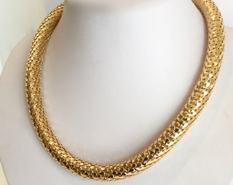 Gold Metal Mesh Necklace Liquid Gold Necklace Metal Mesh Necklace Gold Tubular Mesh Necklace Disco Era Gold Coil Necklace Snake Necklace