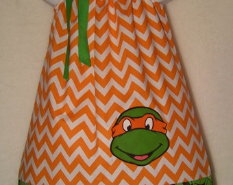 Teenage Mutant Ninja Turtles TMNT Pillowcase Dress/ Michelangelo / Super Hero/ Birthday/ Infant / Girl / Baby / Toddler / Boutique Clothing
