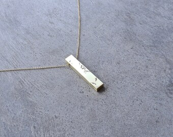 Minimalist Necklace Contemporary Jewelry Brass Pendant