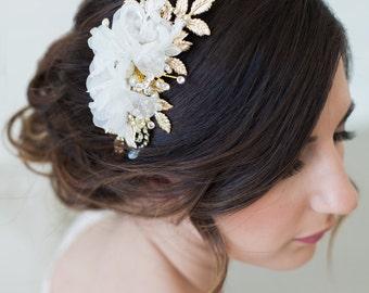Gold Leaves Headpiece, Wedding Hair Accessories, Blush Flower Headpiece, Ivory Flower Hair Comb, Bridal Hair Accessories, Gold Hair Clip