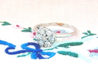 Vintage 14K Diamond Cluster Ring, Engagement, .50 Carats, White Gold, Free Shipping