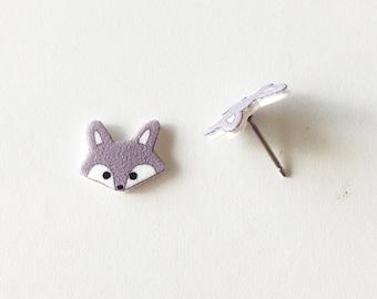Little Gray Wolf Stud Earring, Gray Wolf Earrings