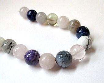 Colorful Gemstones. 12mm Round Semi Precious Stones. Assorted Colors Pastel Pink, Rose Quartz, Purple, Gray, Off White, Clear - 16 Pieces