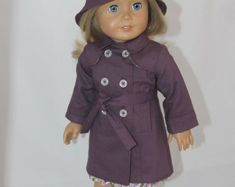 Raincoat / Trench Coat + Bucket Hat for American Girl Doll