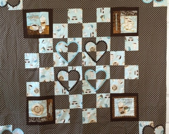 Quilted Throw or Tablecloth --  coffee lovers print