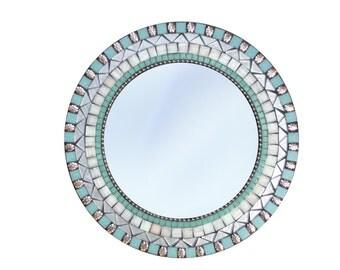 Round Wall Mirror, Mosaic Mirror, Mirror for Beach House, Aqua and Silver