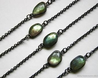 Petite Gold Labradorite Gunmetal Necklace // Minimal Labradorite Layering Necklace