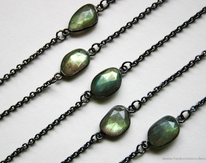 Petite Gold Labradorite Gunmetal Necklace