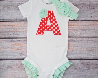 Personalize Bodysuit, mint and coral, ruffle bottom