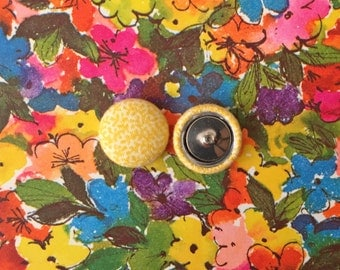 Fabric Covered Button Earrings / Yellow / Wholesale Jewelry / Stud Earrings / Gifts for Women / Great for Sensitive Ears