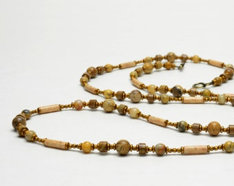 """Earthy Natural Stone Long Necklace - Earthtone Tan, Honey, Light Brown Beaded Necklace - 40"""" Long or 20"""" Double Wrapped Gemstone Necklace"""
