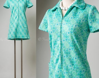Mod Dress, Vintage Turquoise Dress, 60s Dress, Mod mini dress, Mad Men Dress - S/M
